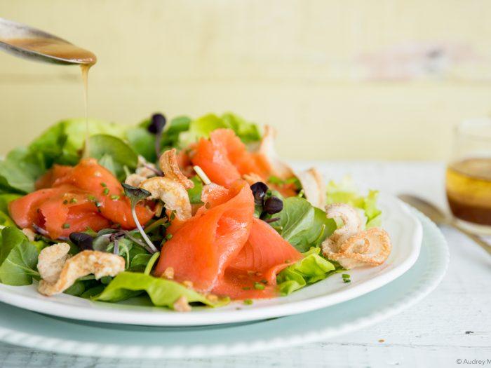 _Photo Erable Recette Salade a la truite fumée Fumoir Grizzly et vinaigrette à l'érable Delices a l'Erable